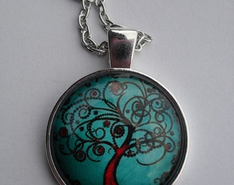 Necklace, tree of life, cabochon necklace, cameo necklace, pendant necklace, yoga jewelry