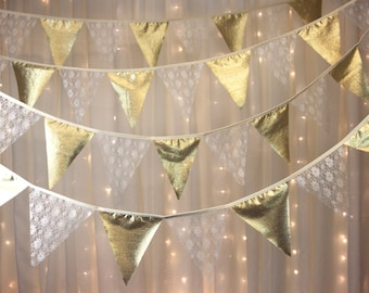 Vintage style bunting 10 metres long, with elegant lace and Gold or silver flags perfect wedding, anniversary decoration