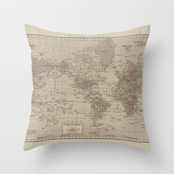World Map Pillow - Brown, tan historical world map, travel decor, wanderlust,  Vintage Maps, unique, colorful, rectangular
