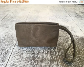Olive Green leather clutch -Small Evening bag -Cosmetic bag- Mini Puoch