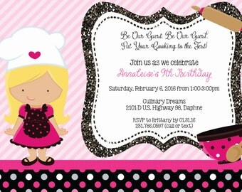 Pink and Black Girl Cooking Invitation