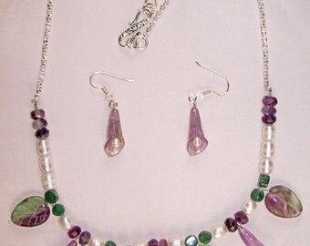 21 inch SS Necklace & Earring Set with Florite, Adventuring, Amethyst and Fresh Water Pearls