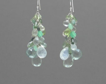 Mixed Green Drop Earrings