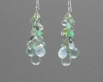 Mixed Green Drop Earrings