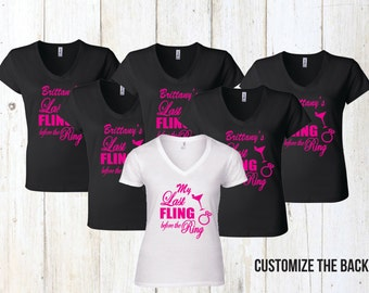 Group Last Fling Before the Ring Bachelorette Party Shirt Custom Made