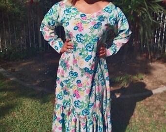 Maxi dress,hippie dress,1970s,70s,floral,pastel,dress,handmade,prairie dress