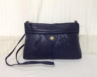 Blue Leather Purse,bag,1970s ,Shoulder Bag