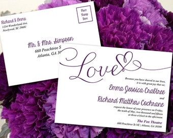 "Postcard Wedding Invitation Template -  Printable Heart Wedding Invitation ""Love"" Eggplant Purple Wedding Download - Postcard Invitation"