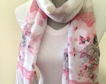 Floral scarf, Summer Scarf, lightweight scarves, floral print scarf, floral scarves,