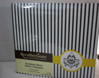 """Recollections 12""""x12"""" Black/White Stripes Yellow Accent 10 Pages"""