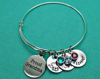 Proud Grandma Bracelet, Gift for Grandma, Mothers Day Gift, Name Bracelet, Charm Bracelet, Birthstone Bracelet, Grandkids Bracelet, Nana