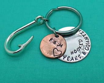 Anniversary Gift, Personalized Key Chain, Hand Stamped Penny,Gift For Men, Penny Keychain, Gift for Wife