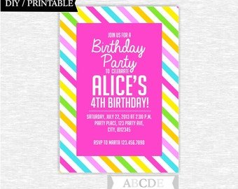 Pink, Yellow, Green, Blue Girl Birthday invitation Stripes DIY Printable (PDSDCH023)