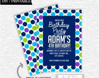 Lime Green, Blue, Navy, Purple Polka Dots Boy Birthday invitation DIY Printable (PDSDCH008)