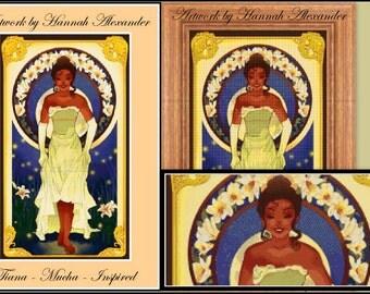 Tiana - Mucha-inspired - Artwork by Hannah Alexander - cross stitch pattern - PDF pattern - Instant download!
