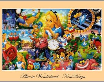 cross stitch pattern, cross stitch, Alice in Wonderland - cross stitch pattern - PDF pattern - instant download!