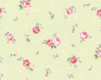 Lecien Princess Rose, Roses and Buds in Green, Japanese fabric 31267 60