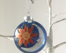 Sun and Moon Christmas Ornament- Sun and Moon Decor- Sun and Moon Gift- handpainted glass ornament- Boho ornament- Boho Decor- Gift Exchange