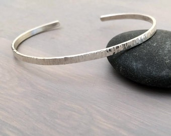 Thin Flat Textured Stacking Sterling Silver Bangle Bracelet