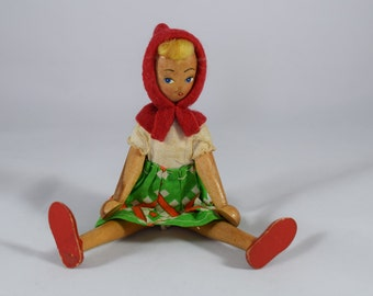 Vintage Early Wooden European Doll Movable Limbs ~ Little Red Riding Hood ~ Toy