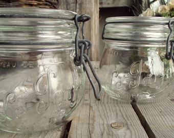 Vintage Glass Jars - Set of 2 - Le Parfait Jars - French Glass Canister - French Mason Jar - 500 ML - Made in France - Kitchen Container