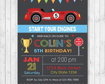 Race Car Birthday Invitation, Car Invite, Race Invitation, Go Kart Invitation, Racing Car Invite, vintage car race, printable