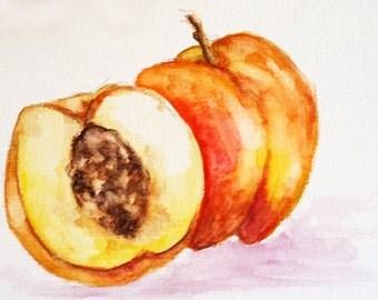 ORIGINAL Watercolor Painting, Still Life Painting, Peach Fruit Art 4x6 Inch