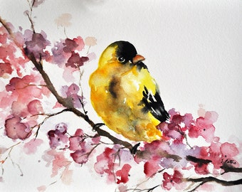 ORIGINAL Watercolor Painting, Goldfinches and Pink Flowers, Watercolor Bird Art 6x8 Inch,