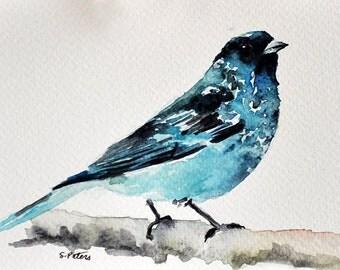 ORIGINAL Watercolor Painting, Handpainted Postcard, Blue Bird Art 4x6 inch