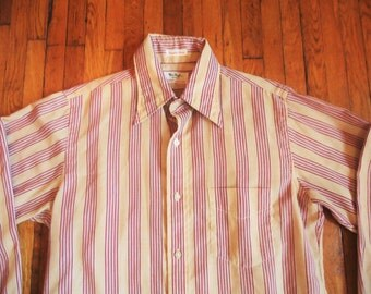 Vintage 60s Gant Tan and Maroon Striped Shirt 15-34