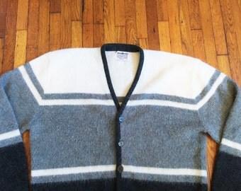 Vintage 60s Brian MacNeil White and Gray Fuzzy Mod Cardigan S/M