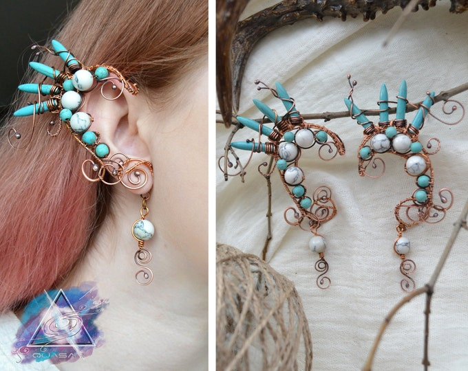 "Ear cuffs ""Turquoise dragon"". Dragon ear cuffs, fantasy jewelry, dragon ears, copper jewelry, boho accessories, ethnic jewelry, quasarshop"