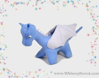 Blue Felt Toy Dragon