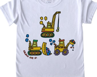 Childrens T shirt to Colour in Diggers Robots T Rex Doodle Colouring In Tee Shirt Boys Designs Boys T shirts Childrens' Fun Activities