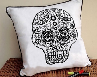 Cushion Skull Design To Colour in Doodle Art Fabric Permanent Pens Adult Colouring Fun Activity Colourful Design Both Sides Hours Of Fun