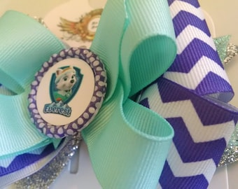 Everest paw patrol inspired hair bow Paw patrol girls Hair Bow Stacked Boutique hair bow . Everest Toddler Girls headband hair clip