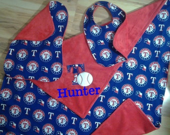 Texas Ranger Baby Blanket Set with bib and burp cloth option of extra set of bib and burp cloth