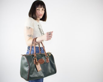 Vintage Purse | 1990s Green Leather Handbag | Pebbled Leather Bag