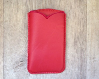 Red Leather and wool felt mobile phone case, design, anti schok, iphone 6