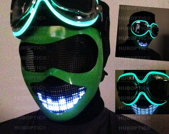 Glow in Dark Goggle Robot - Green Electric Dance Mask for Dj Gigs Scifi Ai Robot Costume Cosplay Cyber Helmet DJ Gig Rave Edc Party Outfit