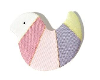 Bird shped Silk Pin back Korean traditional patchwork