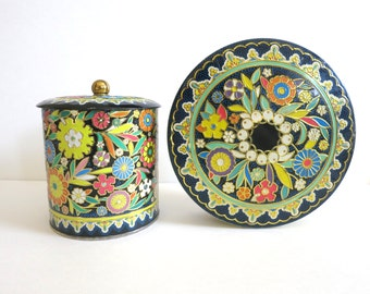 Vintage Floral Daher Tin Set - Boho Kitchen, Black Flowers Tin- 1970's style