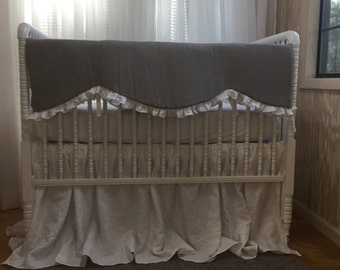 Washed Linen Crib Skirt and Crib Rail Cover