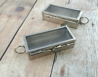 Small Silver Glass Door Shadow Box Rectangle Locket Box Pendant Apothecary Glass DIY Locket Box Collage Charm Antique Silver Vintage style