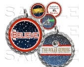 Polar Express Bottle Cap Images, Clip Art,1 Inch Circles, Cupcake Toppers, Stickers,Buttons, Digital Download, DIY Printable