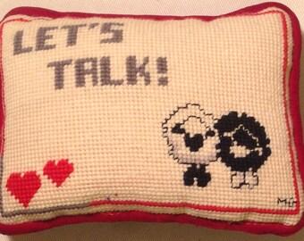 Embroidered Pillow as Door Hanger