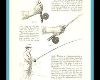 1885 Fly-Fishing. vintage magazine article- 9 wonderful pages- ephemera for decor