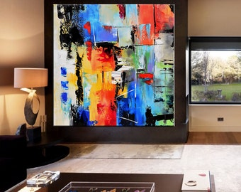 Abstract Painting, Contemporary Wall Art, Extra Large Abstract Painting on Canvas, Square Abstract Art, Yellow, Orange, Blue, Green, Cream.