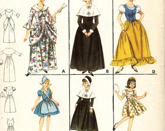 Butterick 3318 Sewing Pattern Colonial Puritan, Dutch, Spanish, Gypsy Costumes for Girls and Misses.