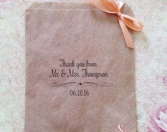 Thank You Personalised Kraft brown Paper Candy Buffet Lolly Bags x 50